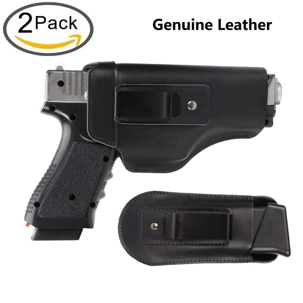 TACwolf Defender Leather IWB Holster For S&W M&P Shield - GLOCK 17 19 22 23 32 33/Springfield XD & XDS Multi Use Soft Pouch for Pistol Inside The Waistband Small, Medium, Large Single Double Stack