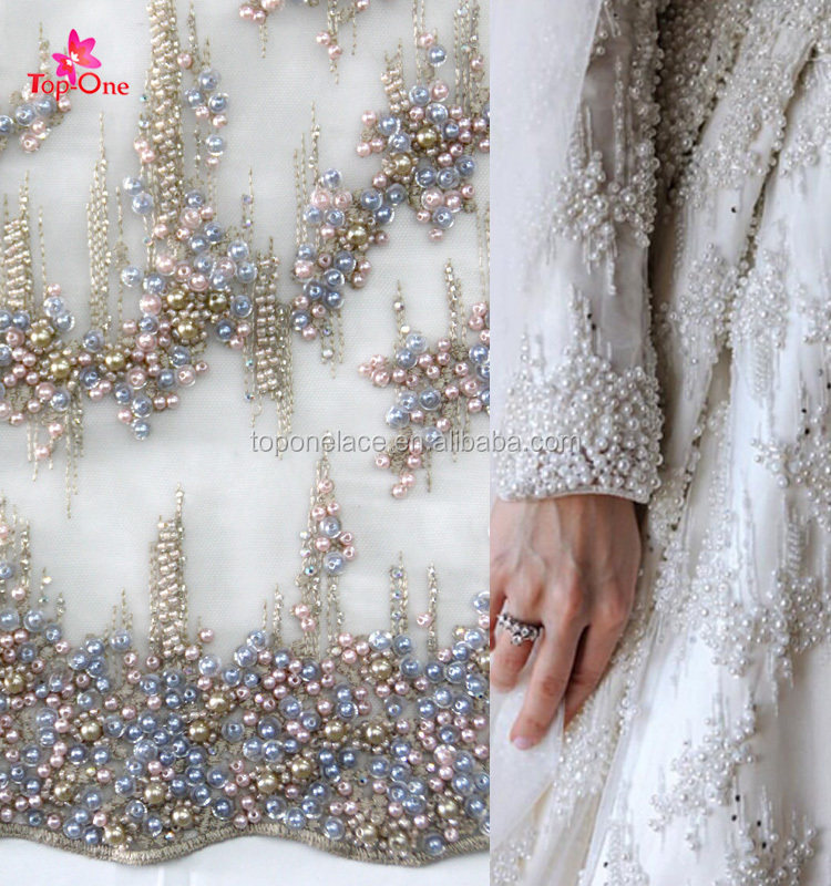 34e6ac5a10eb 2017 Hot Sale Heavy Beaded Lace Fabric Bridal Lace Fabric Handwork  Embroidery Fabric with