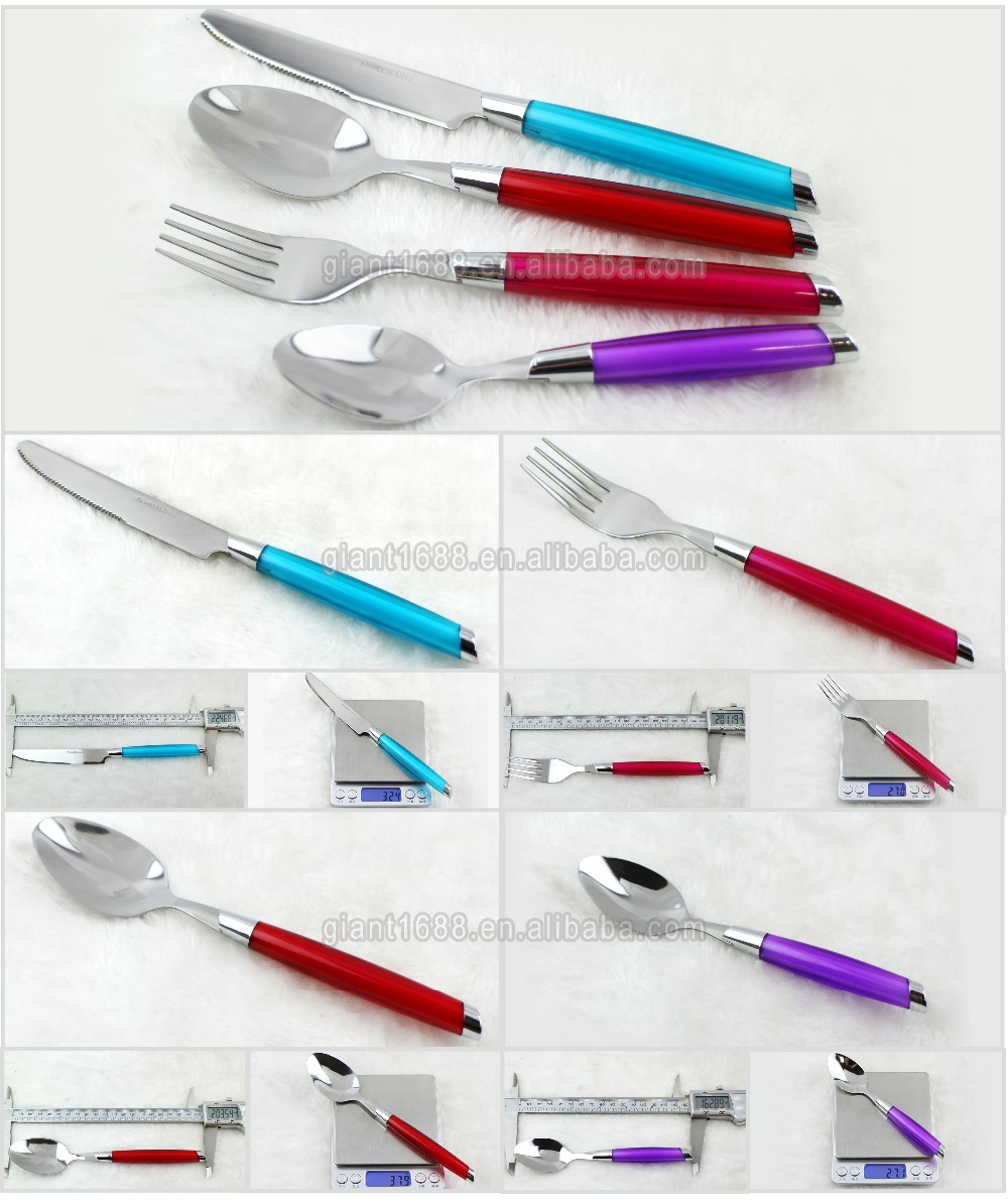 High Quality 24 pieces cutlery set with colorful plastic handle