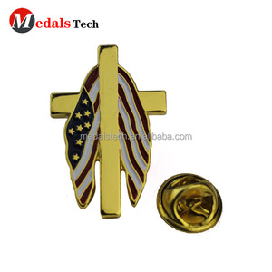 Newest design Metal soft enamel gold plating America US flag lapel pin