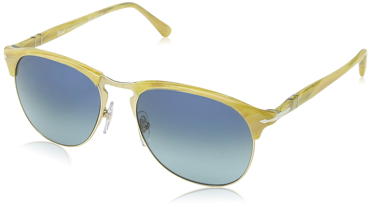 c3e4585be5 Get Quotations · Persol Men s PO8649S Sunglasses Light Horn Light Blue  Gradient Dark Blue 56mm