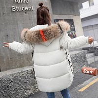 2018 winter hot selling fashion women fur collar hooded coat warm long down feather jacket