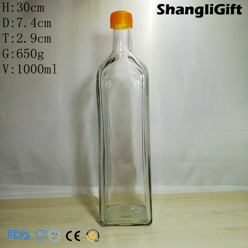 1 Liter 1000ml Square Olive Oil Bottle With Plastic Cap