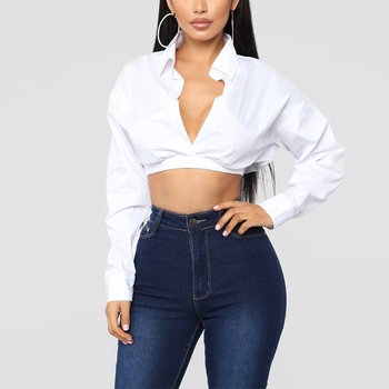 2019 Autumn Sexy White Long Sleeve V Neck Cropped Top Ladies