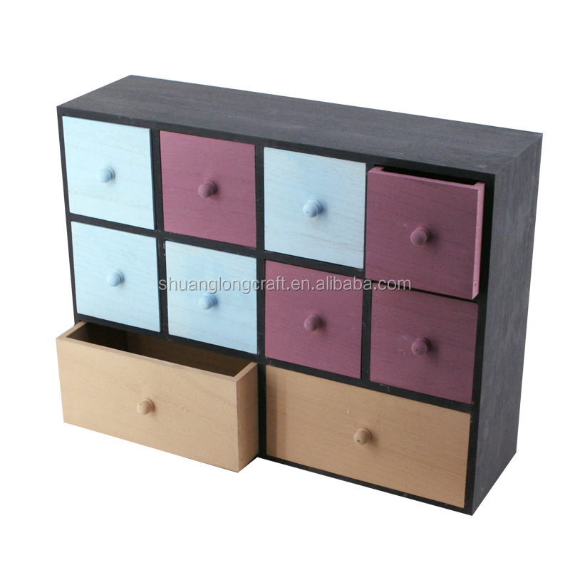 Unfinished small wooden drawers living room furniture decoration ,wood cabinet with many drawers