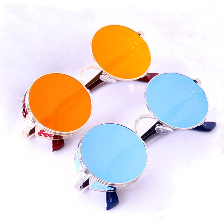 High quality steampunk sunglasses New 2015 vintage round frame sunglasses Alloy frame multi color brand women men sunglasses