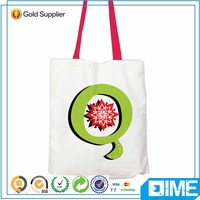 Green Letters Colorful Plain White Cotton Canvas Tote Shopping Bag