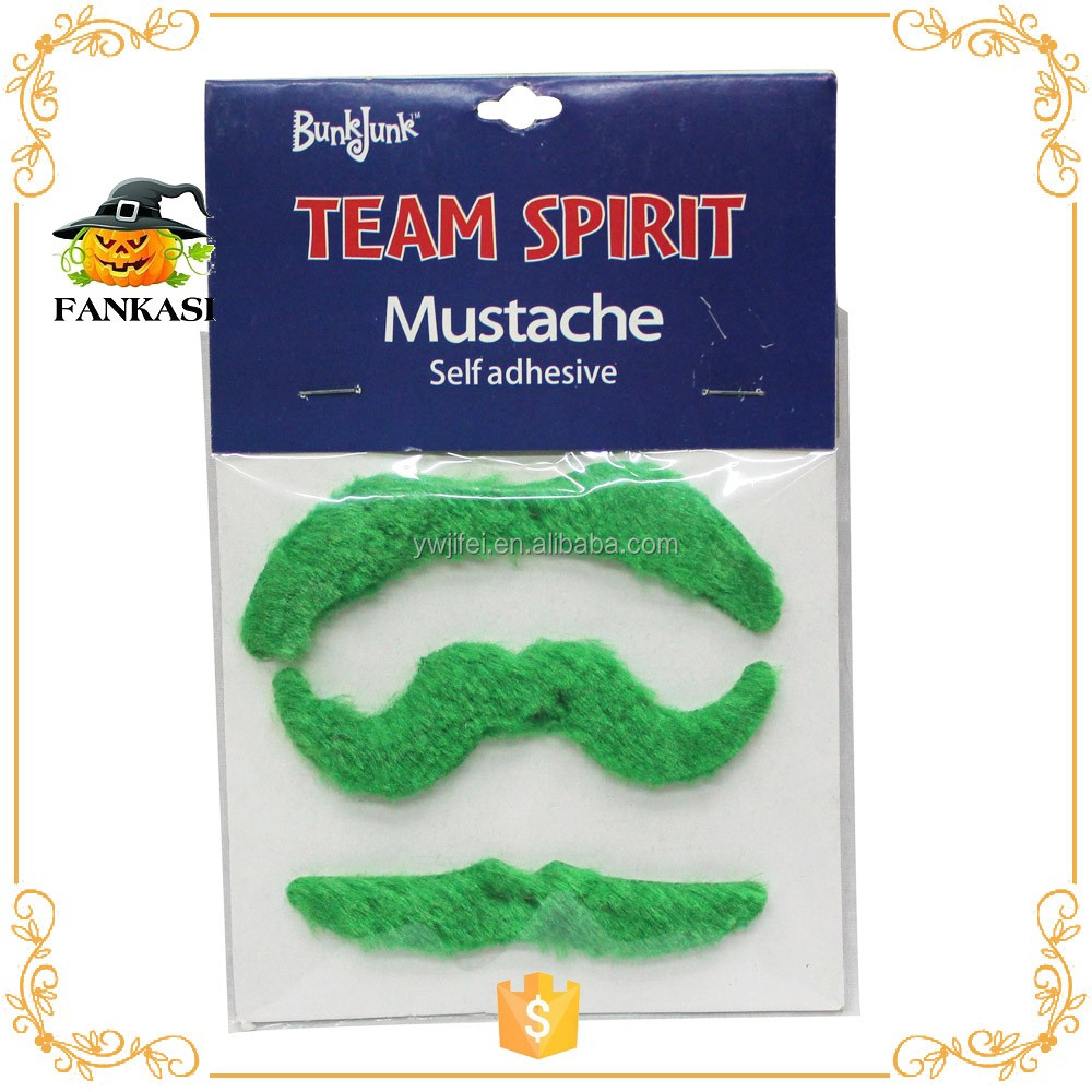 Green halloween fake beard mustache toy