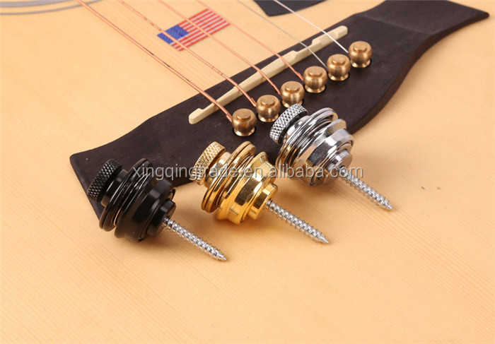 Flat Head Chrome Strap Lock for Electric Guitar