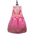 Sleeping Beauty Princess costume spring autumn girl dress 2016 pink Princess Aurora Dresses for girls party