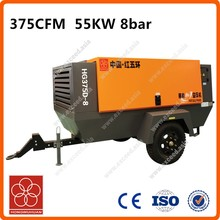8bar 350CFM mobile 75hp portable 55kw electric screw air compressor mining HG375D-8 HGD55-8G