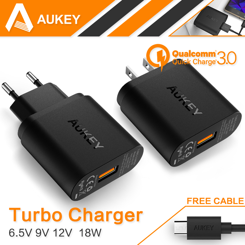 [Qualcomm Certified] Aukey Quick Charge 3.0 USB Turbo Wall Charger 19.5W Fast Charging