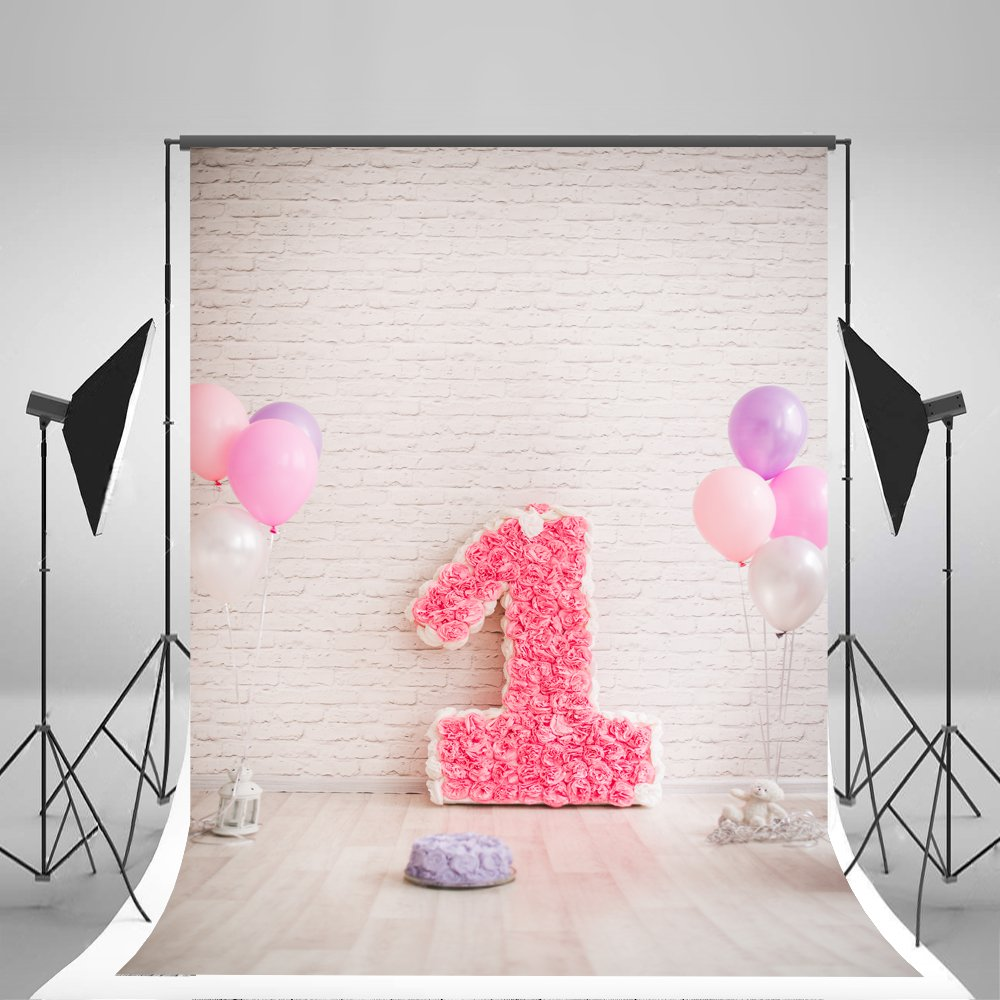 5x7ft(150x220cm) Brick Wall Photographic Backgrounds Pink Rose 1st Birthday Photo Backdrops White Balloons Studio Backgrounds No Wrinkles for Girls