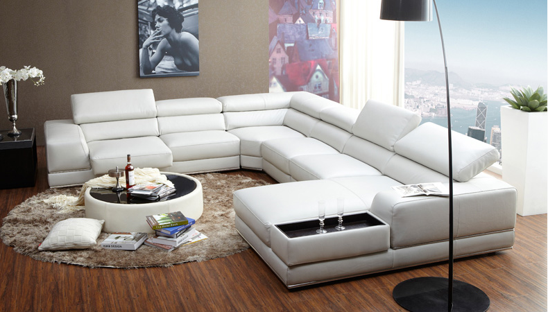 New Italian Style Modern U Shaped White Leather Extra