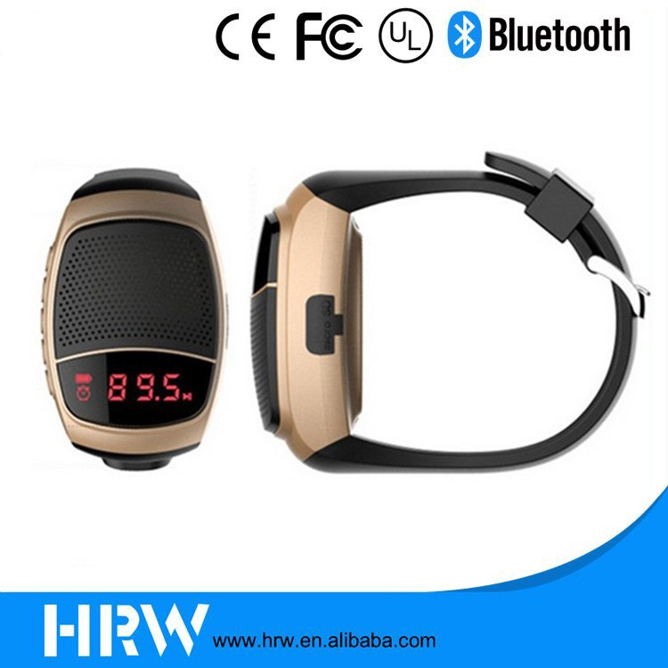 2016 New Outsides Traveling Bluetooth LCD Watch Wristband Speakers 3W with Alarm Clock