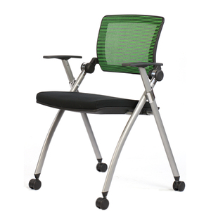 SR-01DW trade assurance order More durable and comfortable Flexible seat mesh back nylon castors foldable office training chair