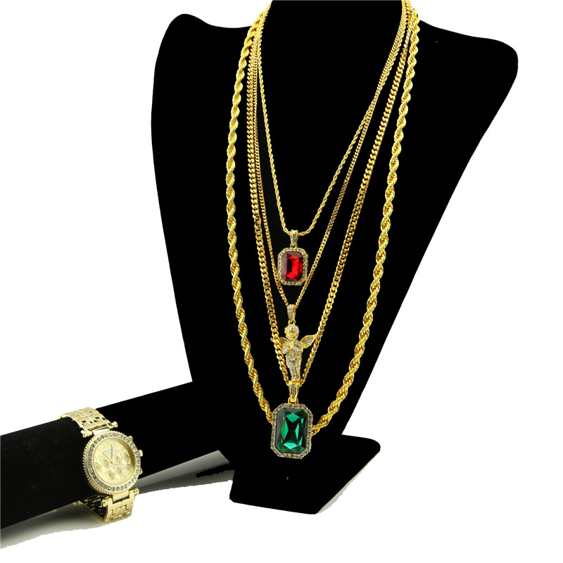 Gold Tone Micro Angel, Ruby Pendant, Bling Watch Hip Hop ...