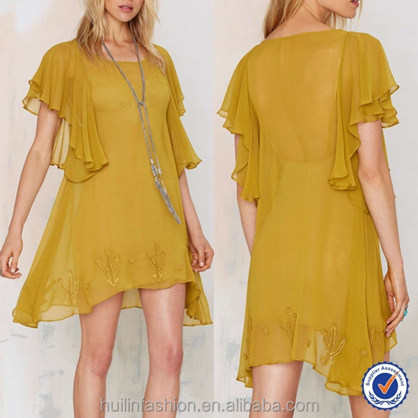 beautiful lemon prickly pear modern mini dress for women