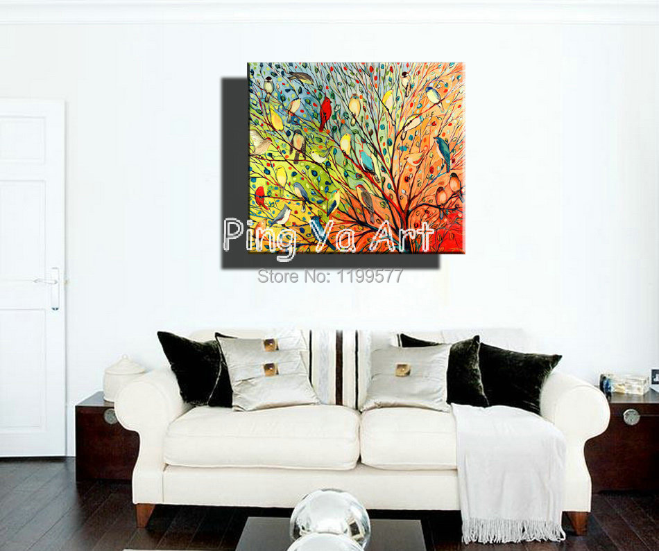 Get Quotations · Abstract Modern Large Canvas Wall Art Handmade Decorative  Colorful Tree Nature Oil Painting On Canvas For