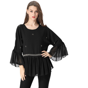 Sexy Women Transparent Flare Sleeve Pearl Bead Sequin Tunic Elastic Waist Ruffled Black Chiffon Silk Blouse