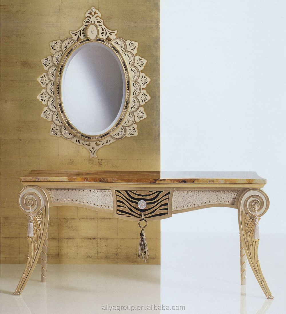 Beautiful AD5212 Luxury Hobby Lobby Console Table Classic Italian Marble Console Table  With Mirror