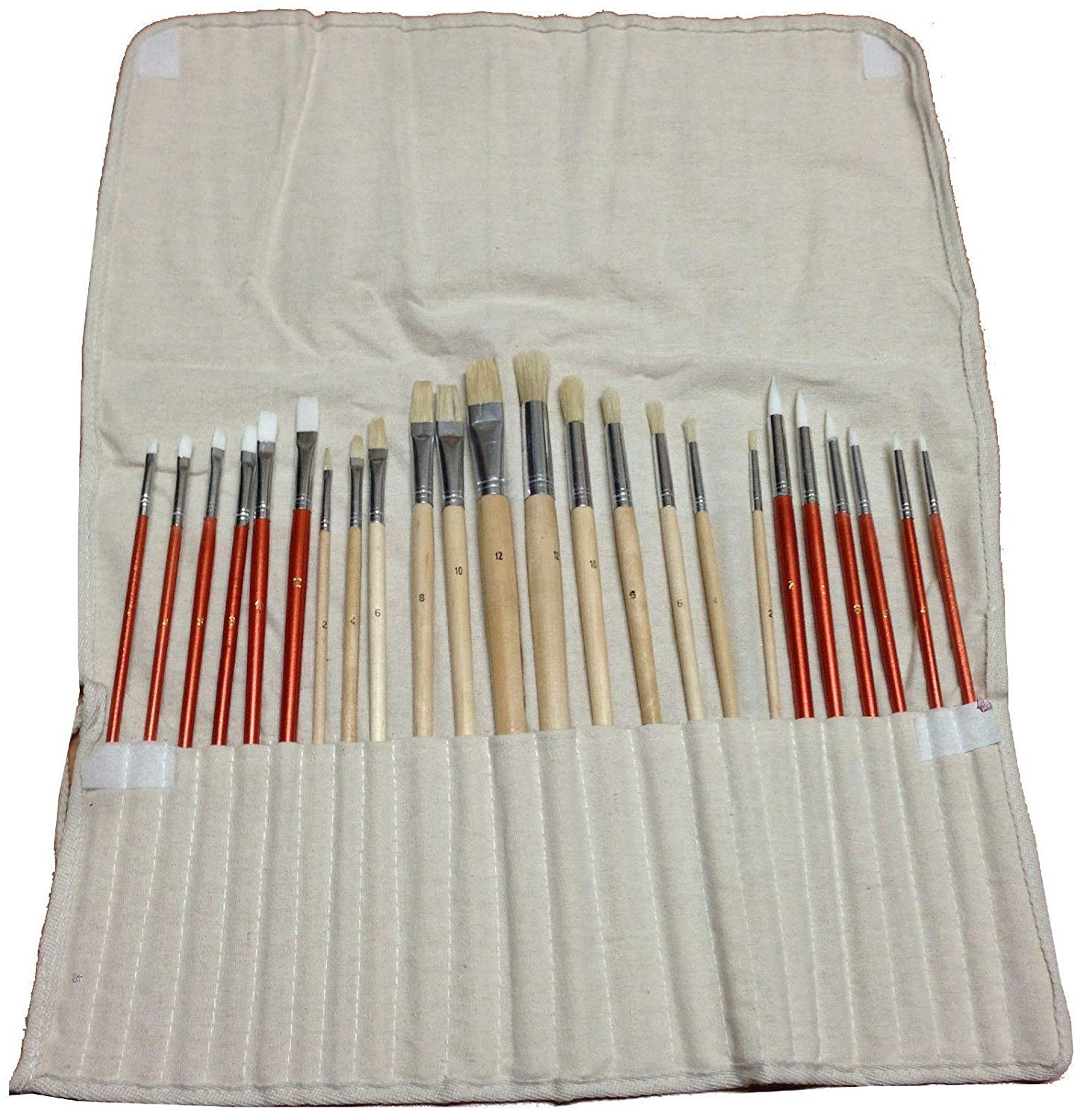 24 Paint BRUSH SET for Oil Acrylic Art Craft Artist Painting+ Canvas Roll Up Bag