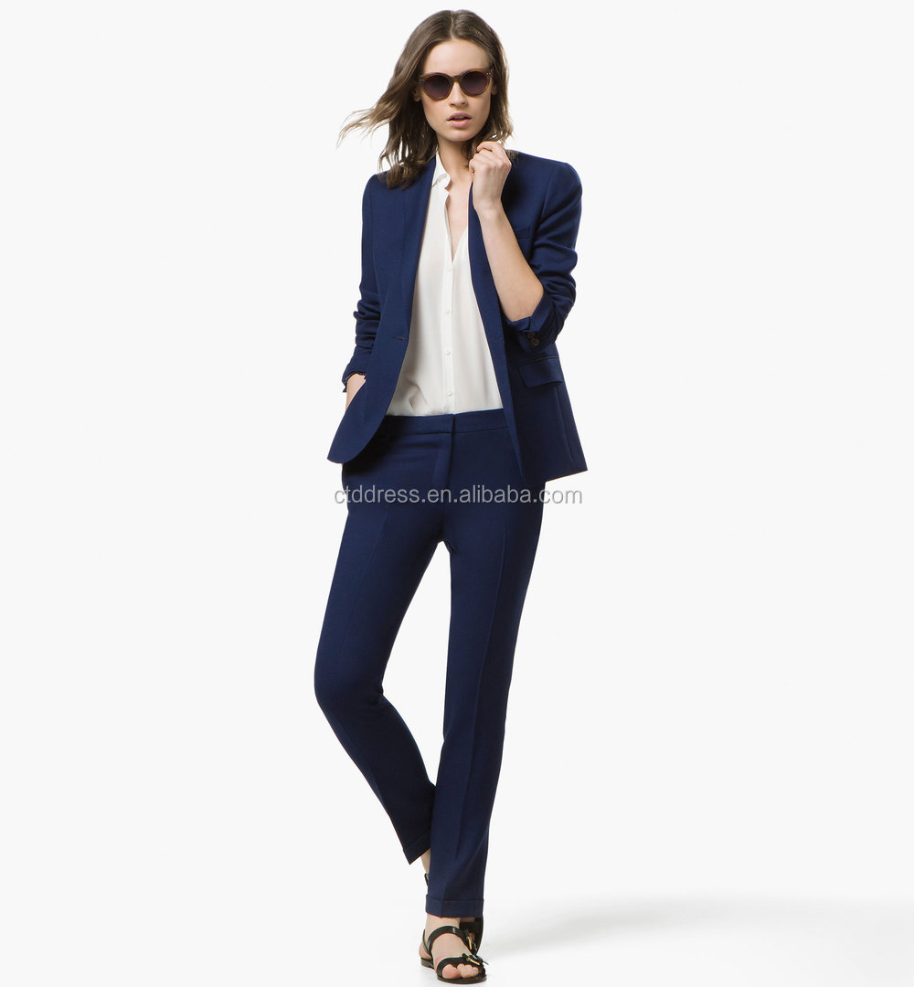 2015 New Design 100% Wool Navy Blue Women Sexy Business Suits