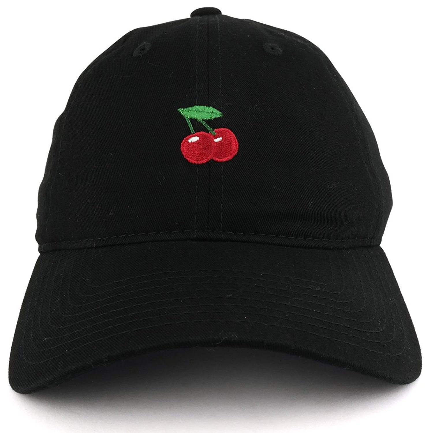 275875d4 Get Quotations · Small Cherry Embroidered Washed Cotton Soft Crown  Adjustable Dad Hat
