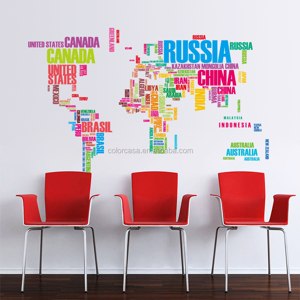 Colorcasa Colourful World Map Wall Sticker 3d World Map Wall Decal Home  Decormation 035 US Copyright Part 62