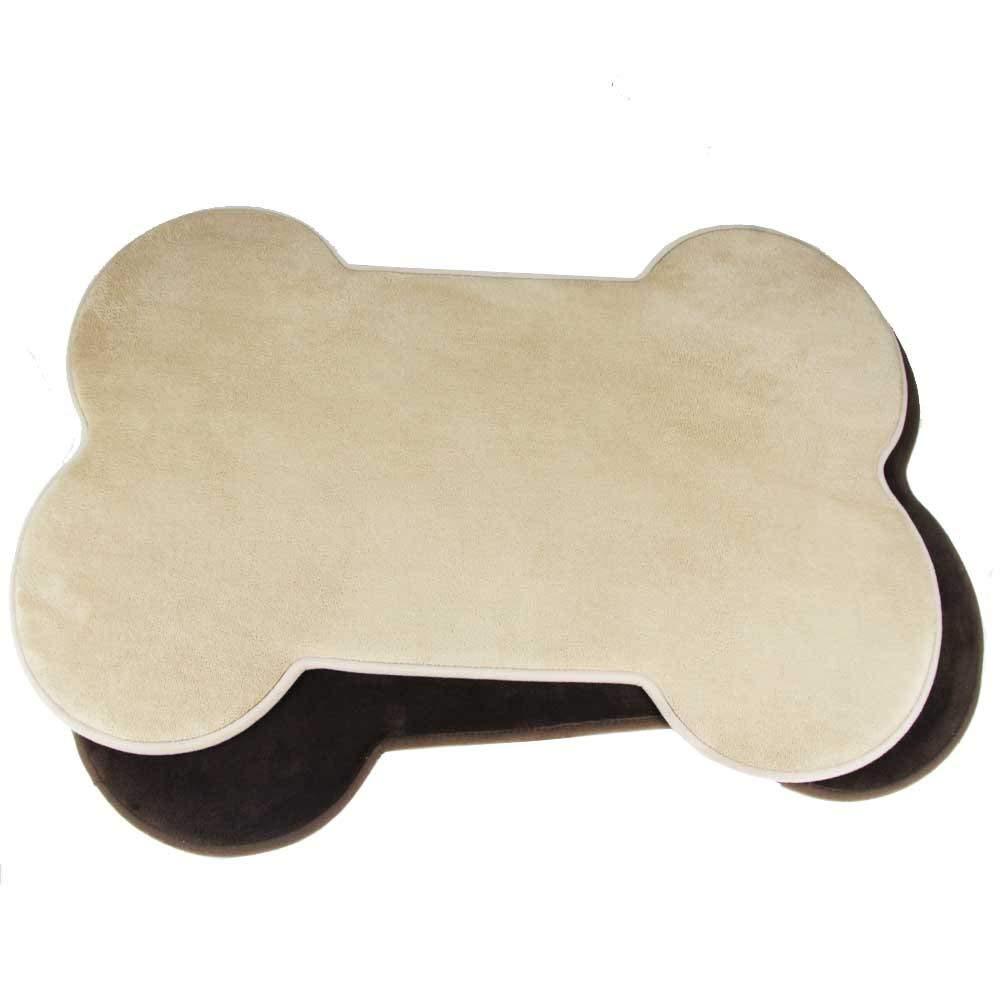 Kasentex Memory Foam Super Absorbable Fast Dry Rubber Back Non-Slip Firm Grip Safe Skid Resistant Machine Washable Floor Door Mat Indoor Outdoor, Dog Bone Shape, 35.5X24.5, Beige