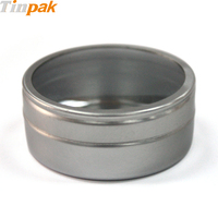 small aluminium round tin box with clear lid