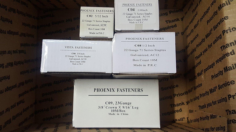 "Phoenix Fasteners Upholstery Staples 3/8"" Crown 2 boxes each 5/32"", 1/4"", 3/8"", 1/2"", 9/16"" Leg Galvanized Staples 22 Gauge Similar to Senco C-wire or 71 Series 10,000 Per Box"