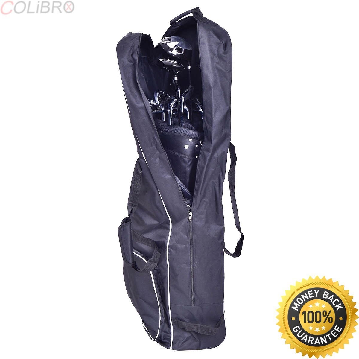 Get Quotations Colibrox Black Foldable Golf Bag Travel Cover With Wheel Lightweight Oxford Club Champ