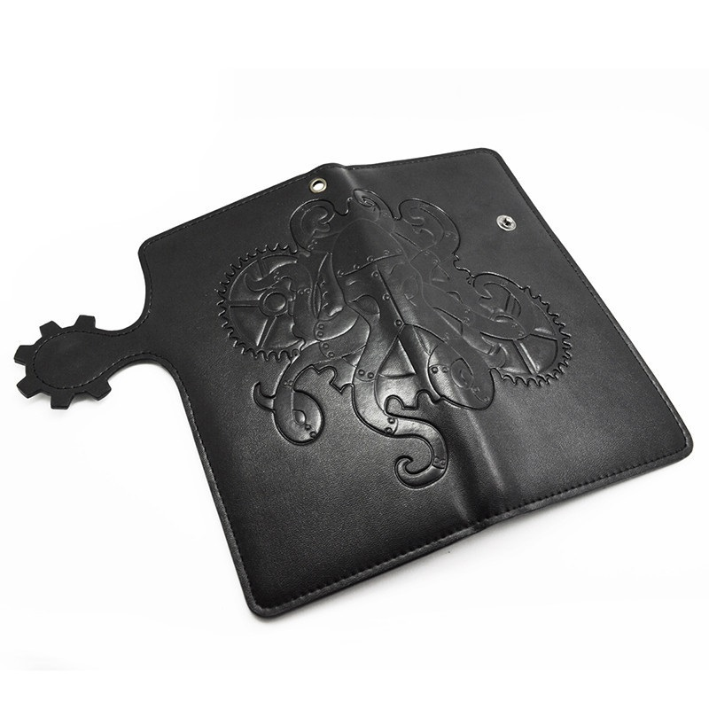buy mens gothic steampunk rock punk retro rock leather long purse halloween wallet card holder bag new halloween free shipping in cheap price on