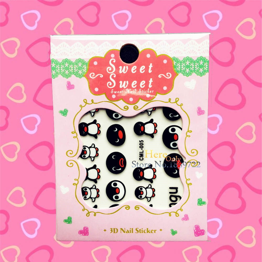 1PC Fashion Cute Lillte Penguin Pattern Nail Art Stickers For Kids HCML 005 Xmas Water Transfer