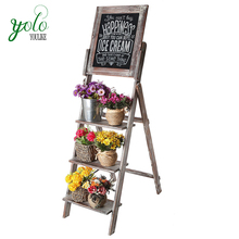 Easel Style Decorative Torched Wood Chalkboard Stand with 3 Tier Display Shelves