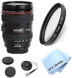 Canon EF 24-105mm f/4 L IS Zoom Lens (White Box) Bundle Kit With + High Definition UV Filter + Al's Variety Premium Cleaning Cloth + Great Value Bundle
