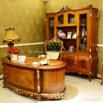 Luxury French Solid Wooden Executive Desk, Office Furniture