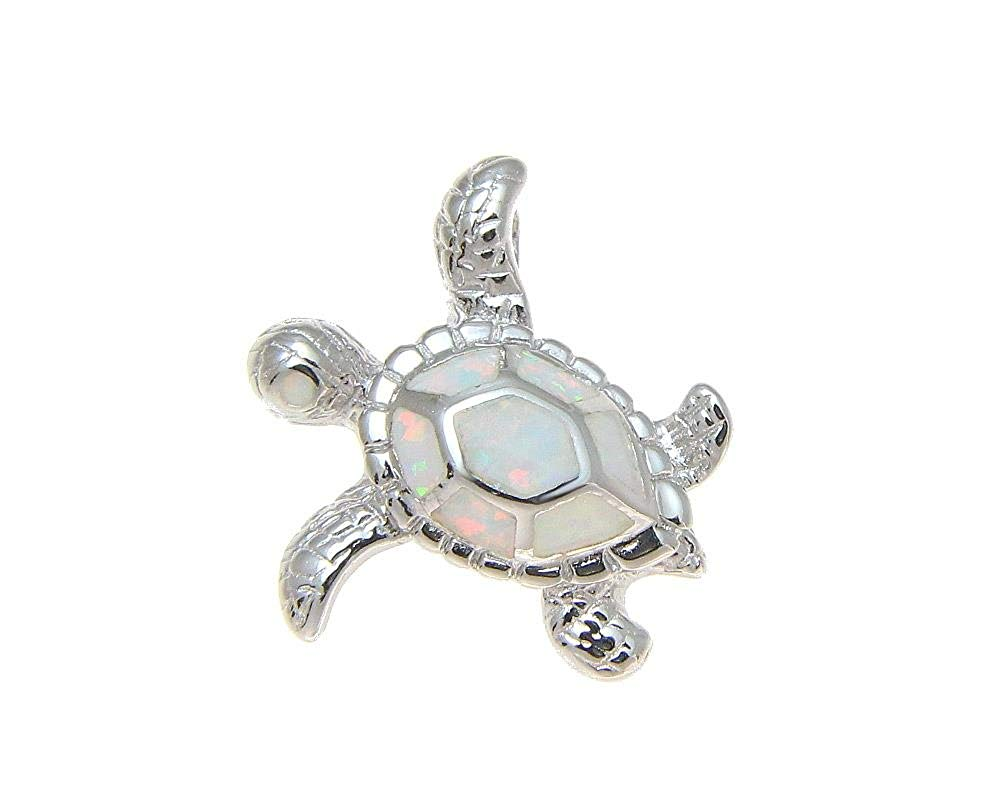 925 Sterling silver Hawaiian honu sea turtle white synthetic opal cz eye slider pendant 20mm