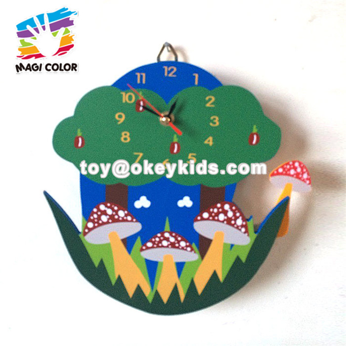 Wholesale cartoon pattern wooden wall munt clock for baby W14K027