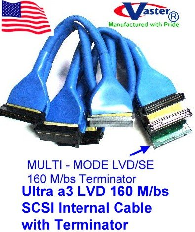 Round Ultra a3 LVD 160 M/bs SCSI Internal Cable with Terminator, (4 Connector 3 Drive)