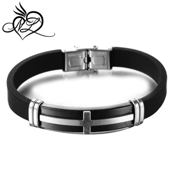 badd854f77814 Black Rubber Bracelets & Bangles For Men Stainless Steel Cross Silicone  Wristband Bangles For Male Jewelry - Buy Black Onyx Bangle Bracelet,Rubber  ...