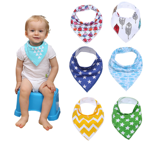 100% Natural Cotton Assorted Patterns One Size Multicolor Baby Bandana Drool Bibs