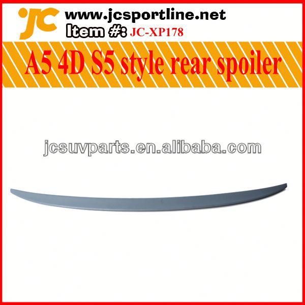Unpainted PU primer09-12 A5 S5 trunk lip for Audi A5 4D rear spoiler,Car rear boot spoiler