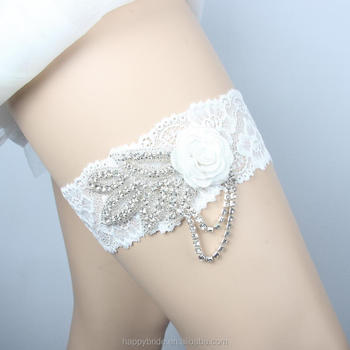 Factory Ivory Weddign Garter Belt Bride Leg With Crystal Lique