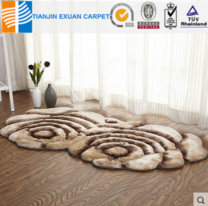 manually cut pile flower style rug mat
