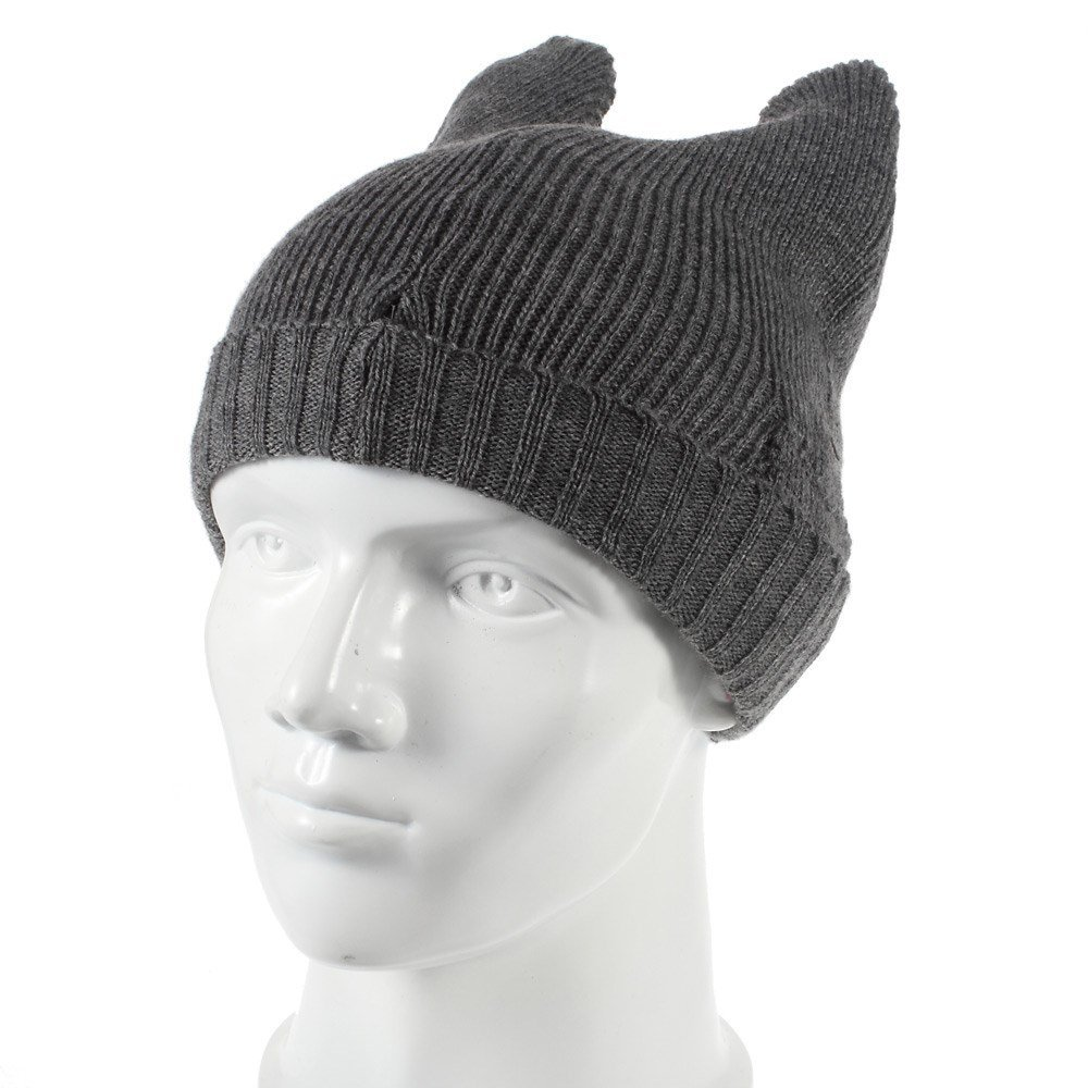 d5c36c0e306 Get Quotations · Fonrest Wired 3.5mm Earphone Equipped Cat Ears Devil Horn  Winter Knitting Beanie with Microphone for