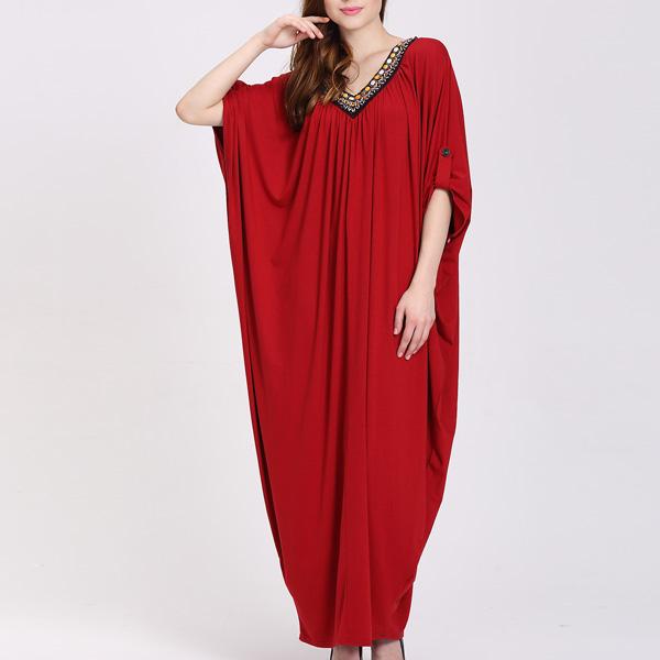 Nieuwste ontwerp v-hals fashion plus size vrouwen lange batwing jurk