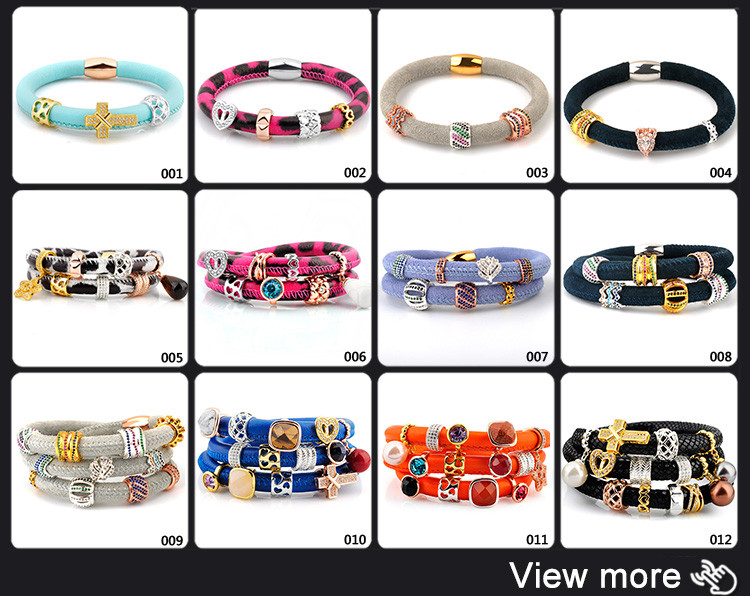 New Products 2018 Magnetic Clasp Leather Wrap Phyton Bracelet For Men Women