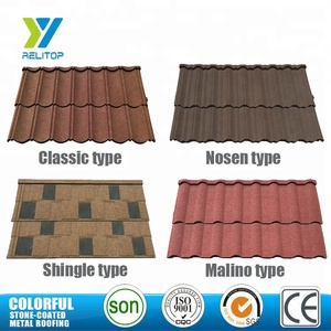 Relitop Lightweight villa roofing material stone coated metal roof tiles / lowes roofing sheet price / roof tile